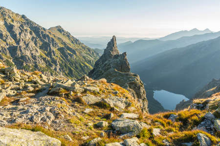 mnich: Monk (Mnich) - a lonely crag in the Tatra Mountains in Poland. The apex frequented by mountain climbers.