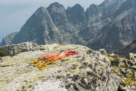 karabiner: Set quickdraw (extender) with mountains in the background