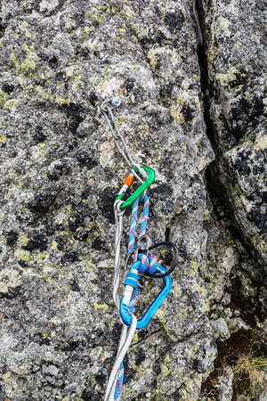 descender: Rappel stance - preparing the rope to rappel Stock Photo