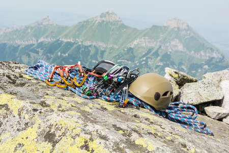 karabiner: Equipment (rack, gear, hardware) mountaineer to summit after finishing mountain climbing
