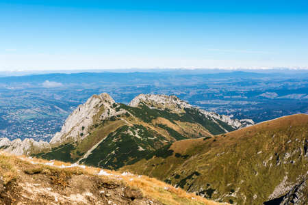 giewont: Mount Giewont and Zakopane in the valley are frequent targets hikes in the Polish Tatra Mountains