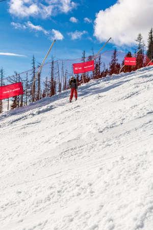 downhill skiing: Tatranska Lomnica, Slovakia - December 26, 2015: Young girl during downhill skiing.