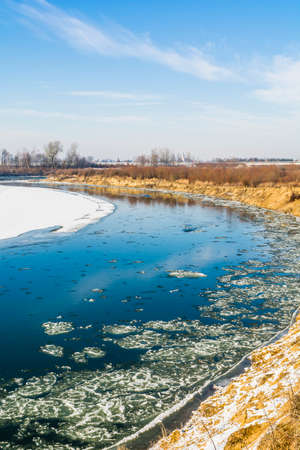 periods: River during periods of frost and flowing it frazil ice. Stock Photo