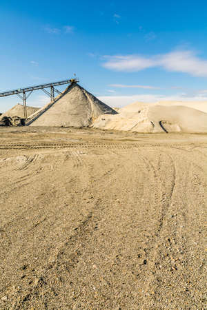 aggregates: Fractionation of aggregates in a gravel pit in Poland. Stock Photo