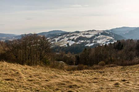 ending: Landscape ending winter in the mountains (Beskids). Stock Photo