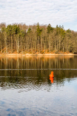 buoy: Red buoy in the lake surrounded by trees.