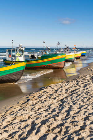 cutters: The port at the beach facing cutters. Stock Photo