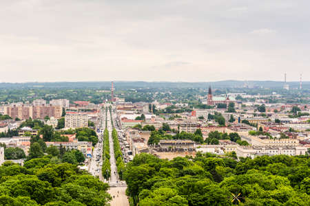 apartment tower old town: Czestochowa, Poland, - June 2, 2016: View of the city of Czestochowa from the tower Order of Saint Paul the First Hermit of the Jasna Gora Monastery. Editorial