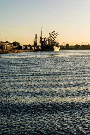moored: Gdansk, Poland - June 7, 2016: Specialized ship moored in the port of Gdansk.
