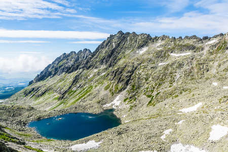ridge of wave: Valley with a pond and surrounding ridge in the Tatra Mountains in Slovakia.