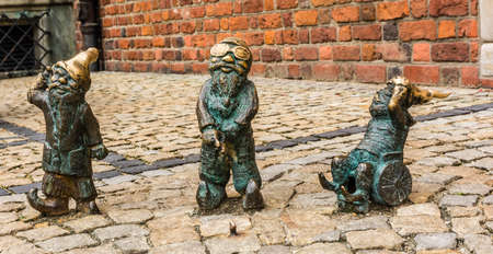 ambassadors: Wroclaw, Poland - August  05, 2016: Wroclaw?s dwarfs, Ambassadors campaign  - Wroclaw without barriers.