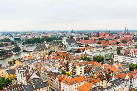 agglomeration: Wroclaw, Poland - August  05, 2016: Panorama Wroclaw on a cloudy day as seen from the tower.