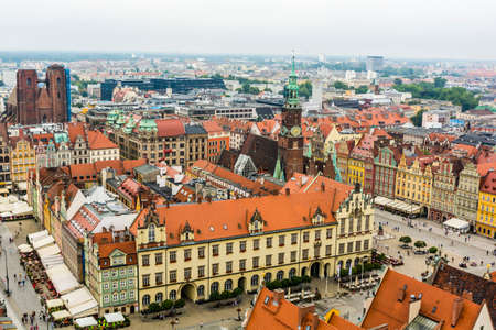 agglomeration: Wroclaw, Poland - August  05, 2016: Market Square, Wroclaw - view from the tower. Editorial