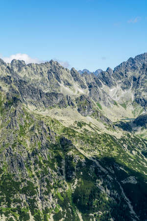 gully: Tatra valley and ridge in the summer in Slovakia. Stock Photo
