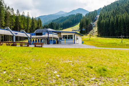 Zuberec, Slovakia - August  20, 2016: Station chairlift (Rohace - Spalena, Tatra west)  in the mountains also open in the summer. Editorial