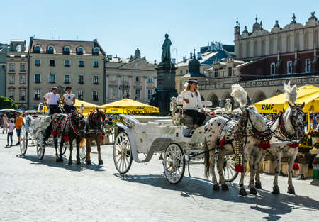 mickiewicz: Krakow, Poland - August  26, 2016: Droshkies with fiacres for a stopover on the market at the monument to Adam Mickiewicz.