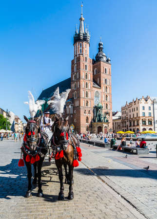 assumed: Krakow, Poland - August  26, 2016: Fiacre the reins black horses with St. Marys Church in the background. Editorial