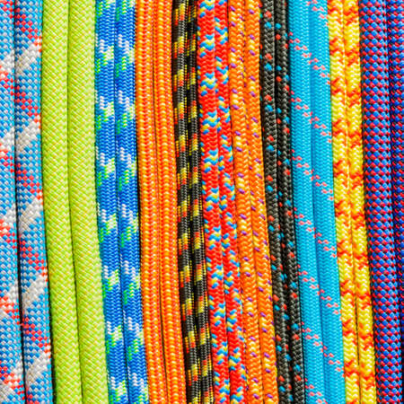 rappel: Colored ropes and cords as a pattern.  Stock Photo