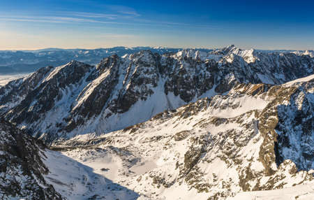View of the ridges in Tatras on a sunny winter day.