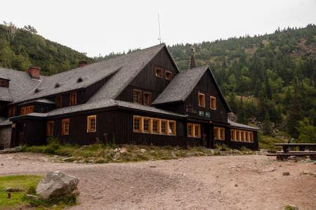 Karpacz, Poland - August 24, 2012: Samotnia, mountain hut in Karkonosze (Giant Mountains), Poland. Editorial