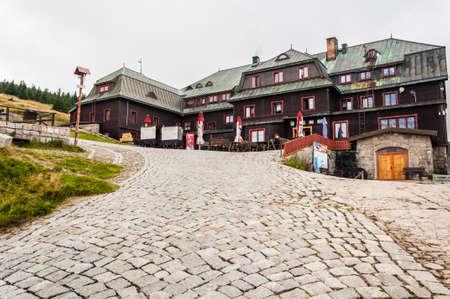 Karpacz, Poland - August 24, 2012: Mountain hut (Strzecha Akademicka) in the Krkonose.