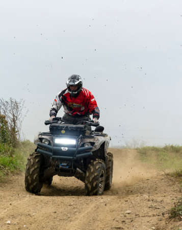 Biskupice Radlowskie, Poland - October 22, 2017: Quick quad driving training on the off-road. Editorial