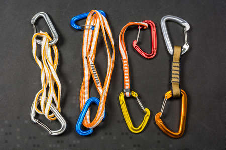 Different types of loop in quickdraws for sports and mountain climbing.