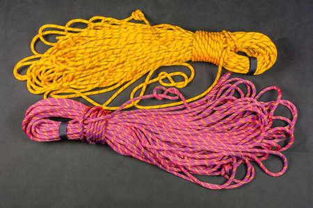 Set of two half rope for mountain climbing.