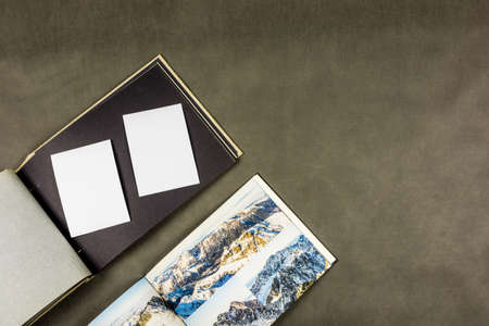 Presentation of an old album and a modern one with my pictures from the mountains. Stock Photo