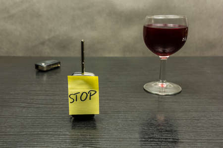 Stop on the car key. So we do not drive vehicles after alcohol - a glass of wine.