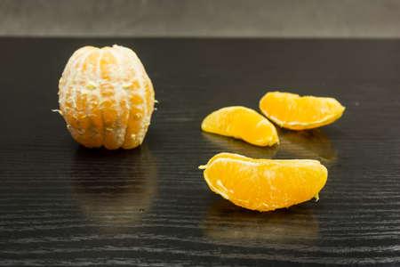 peeled orange on a table