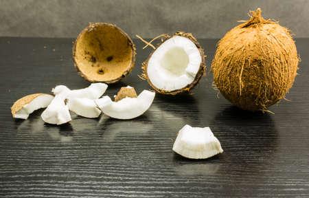 White edible part of the split coconut fruit.