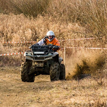 Biskupice Radlowskie, Poland - January 14, 2018: Fun for big boy. Quad ride on off-road. Editorial