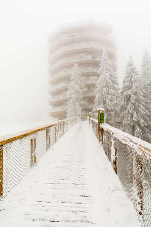 Wooden footbridge leading to the observation tower. In winter, however, fog often occurs and the views are limited.