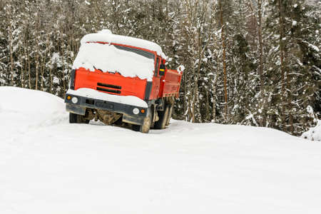 A red truck covered with snow is standing by the forest