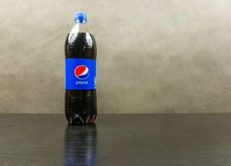 Niedomice, Poland - March 06, 2018: Bottle with Pepsi - made by Pepsico.