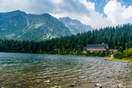 Strbske Pleso, Slovakia - September 02, 2018: Horsky Hotel Popradske pleso - Mountain hut in the Slovak Tatra mountains on the Poprad lake (Popradske pleso).