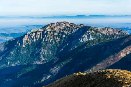A view of the autumn morning to the summit in the Tatra Mountains - Kominiarski Wierch (Kominy Tylkowe).
