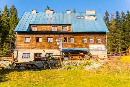 Ujsoly, Poland - November 11, 2018: Mountain hut PTTK on Hala Lipowska in Poland. Publikacyjne