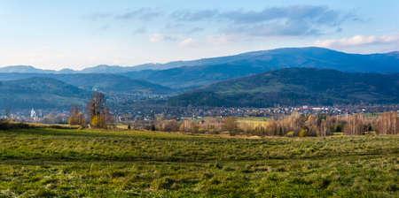 Milowka, Poland - November 11, 2018: View of the Milowka village in Zywiec County, Silesian Voivodeship, in southern Poland. Publikacyjne