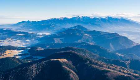 A wonderful panorama of the Tatra Mountains from the summit Velky Choc.