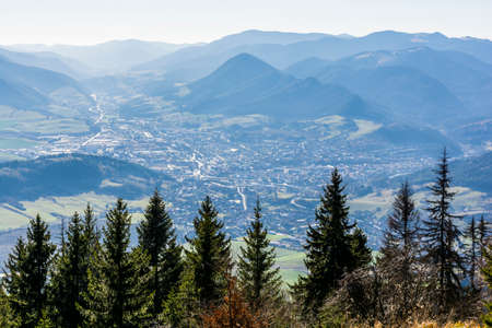 Likavka, Slovakia - November 17, 2018: View of the town of Ruzomberok situated in the valley, in the historical Liptov region.