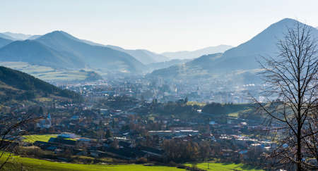 Likavka, Slovakia - November 17, 2018: The town of Ruzomberok and the village of Likavka situated in the valley between the mountains.