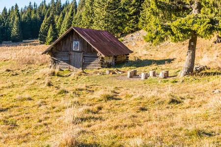 Likavka, Slovakia - November 17, 2018: Old shepherd hut in the clearing (Stredna polana) on the trail to Velky Choc.