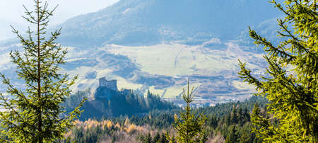 Likavka, Slovakia - November 17, 2018: View of the ruins of the royal castle - Hrad Likava,