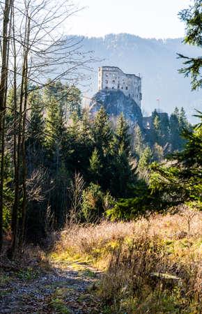 Likavka, Slovakia - November 17, 2018: The trail leading to the ruins of the royal castle - Hrad Likava.
