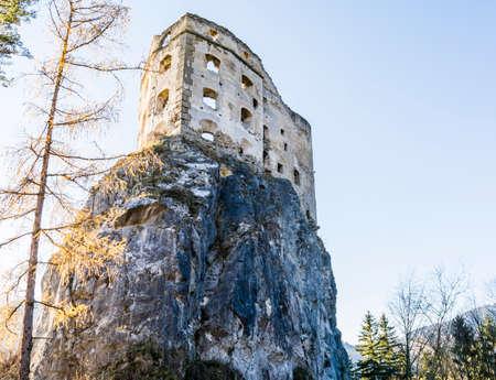 Likavka, Slovakia - November 17, 2018: Likava Royal Castle - destroyed walls of the fortress on the rock. Redakční