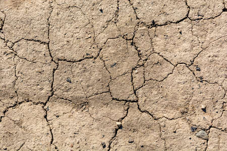 Climate changes. Contraction cracks in dry earth. A natural disaster caused by drought.