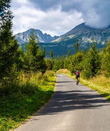 Tatranska Polianka, Slovakia - September 12, 2020: Athlete during cycling training in the mountains. Wielicka Valley (Velicka dolina), Tatra Mountains. Slovakia.