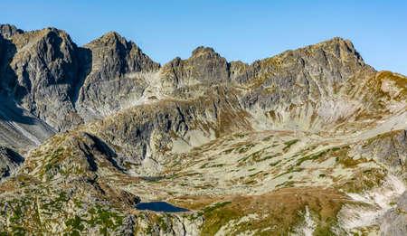Pusta Kotlina (Rovienkova kotlina) - The upper level of the Starolesna Valley (Velka Studena dolina) with the surrounding peaks. Tatra Mountains, Slovakia.
